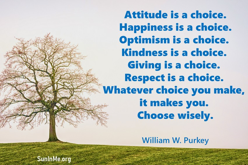 Attitude is a choice. Happiness is a choice. Optimism is a choice. Kindness is a choice. Giving is a choice. Respect is a choice. Whatever choice you make, it makes you. Choose wisely.